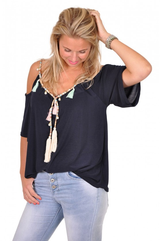 Microfiber top met kettingdetail navy