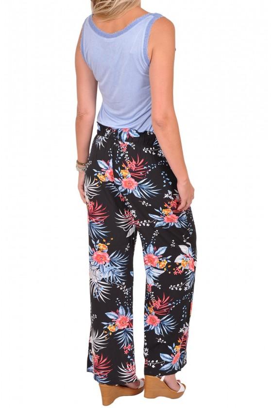 Loose fit bloemen print broek Elly zwart