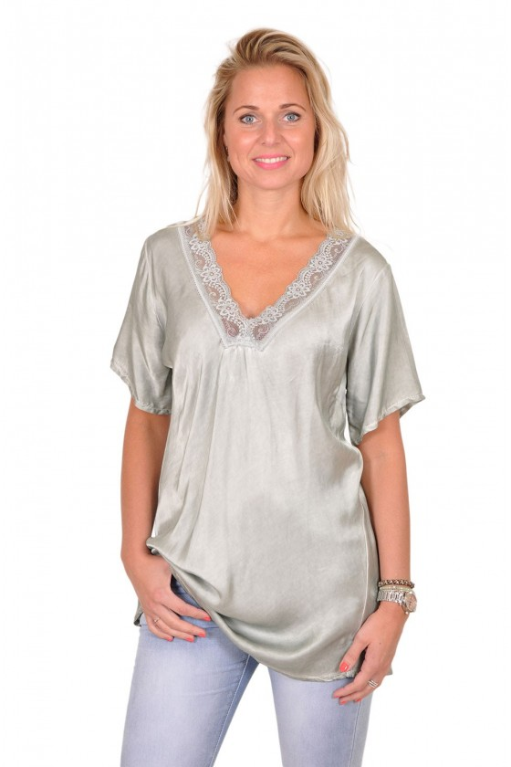 Blouse satijn met v-hals Claire army