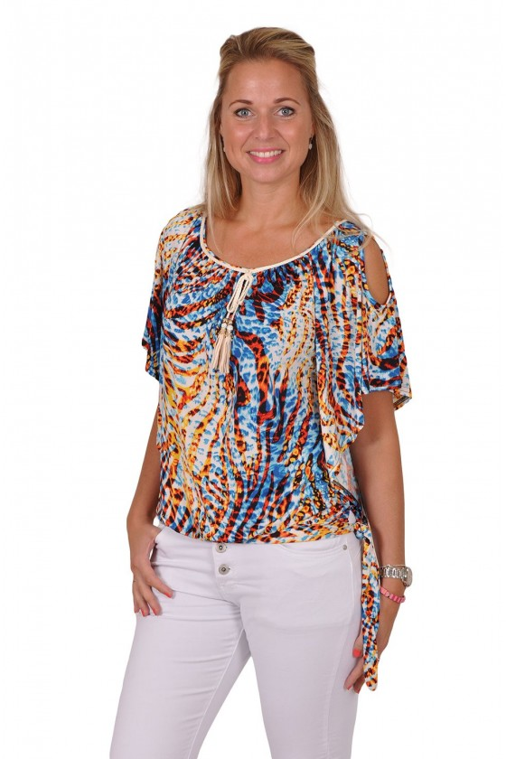 Microfiber top met strikdetail splash blauw