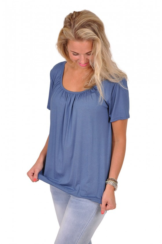 Basic korte mouwen top always good indigo