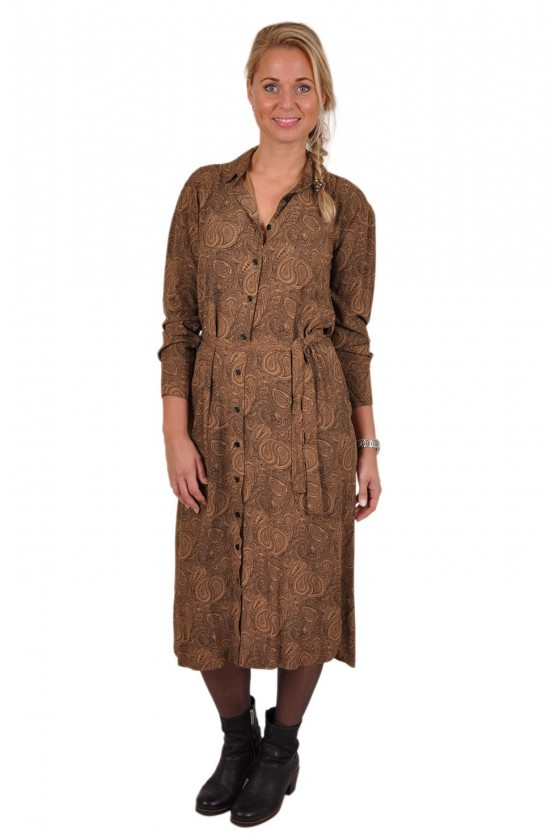 Paisleyprint jurk Gemma Ricceri camel