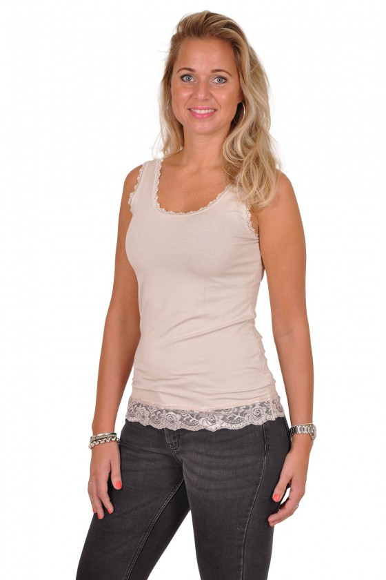 Basic ROMANCE lace top beige