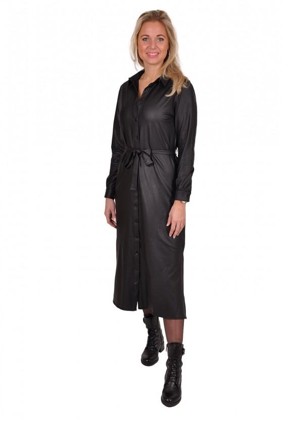 Travelstof leatherlook doorknoopjurk Triple Nine zwart