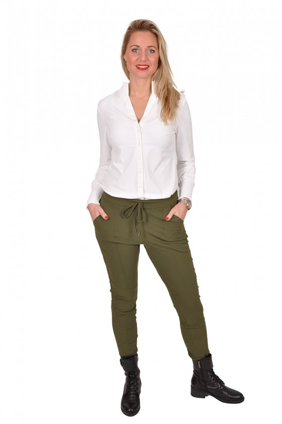 Travelstof smock blouse Bibi van Daelin ecru