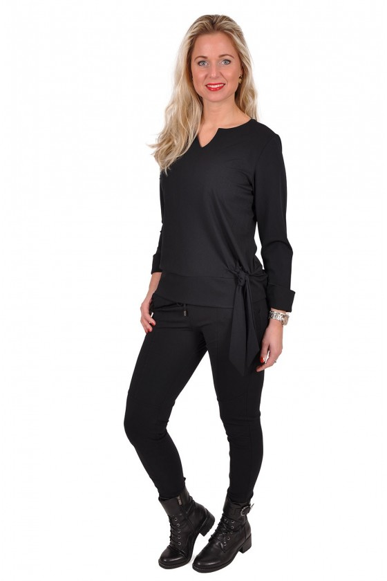 Travelstof strik blouse/top Bo van Daelin zwart