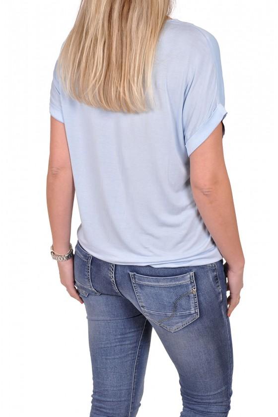 Silk touch v-hals top Gemma Ricceri lichtblauw GEMMA RICCERI