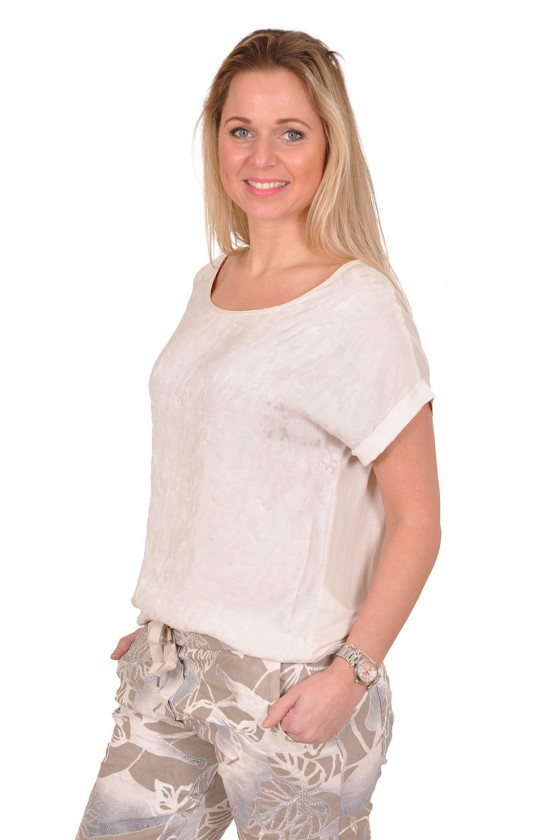 Silk touch top met glimmende print Goldie