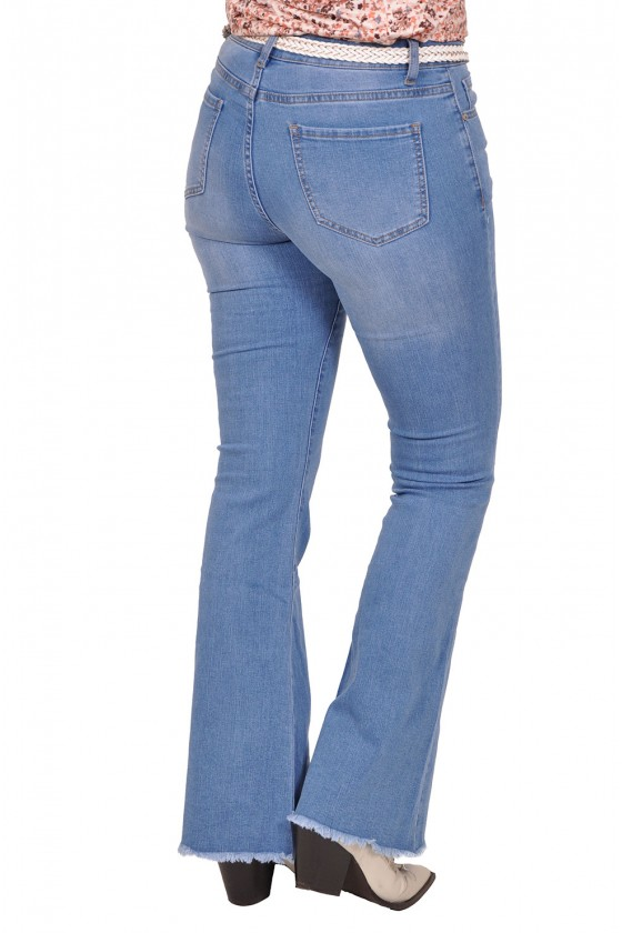 Flared stretch jeans met rafels Cindy