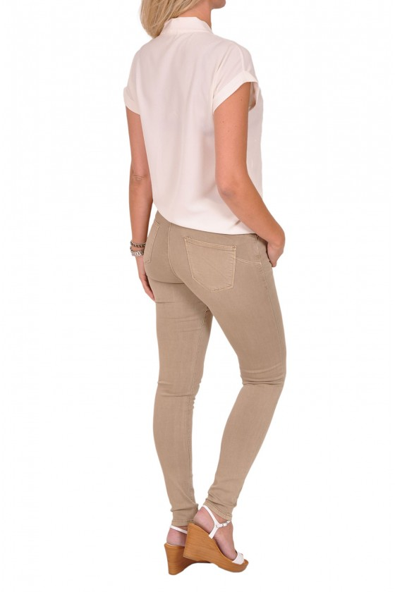 Norfy push up stretch jeans beige