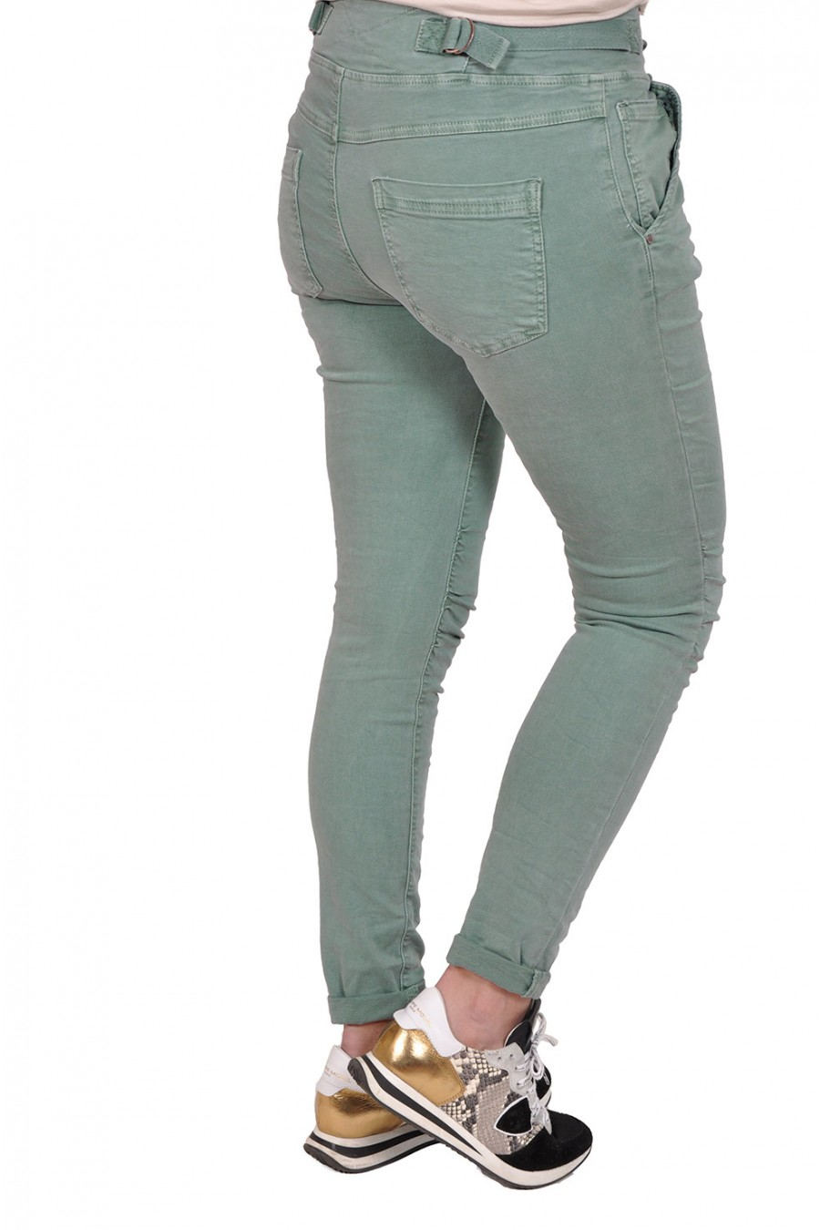 Melly&co stretch jeans groen MELLY&CO