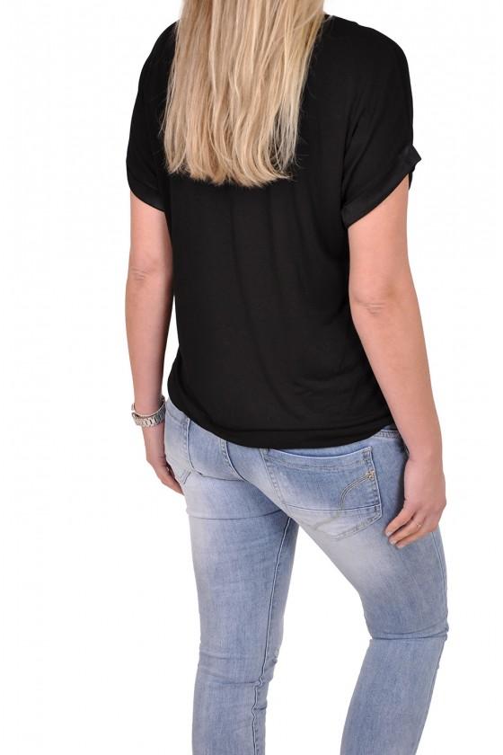 Silk touch v-hals top Gemma Ricceri zwart