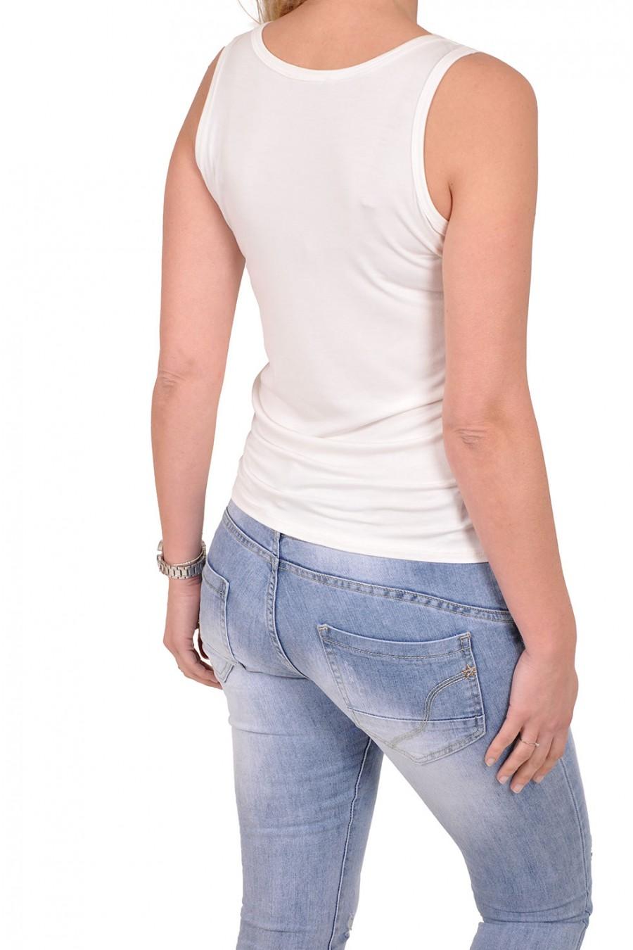 Basic topje want-it off white Italia Moda