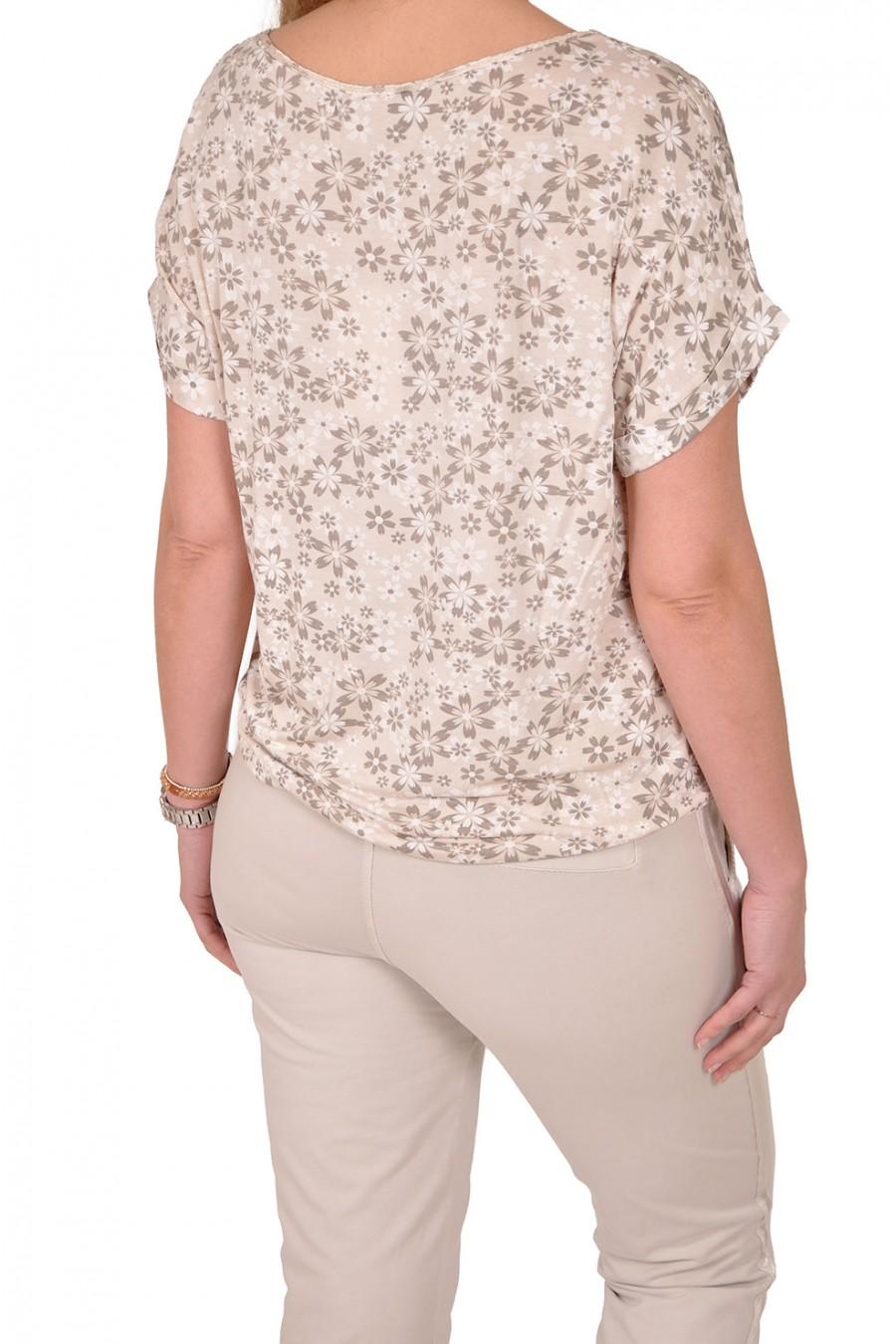 Silk touch top bloem beige Gemma Ricceri