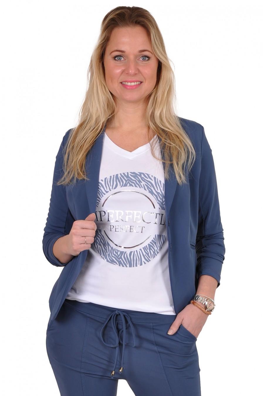 Travelstof blazer van Vera Jo jeansblauw Vera Jo