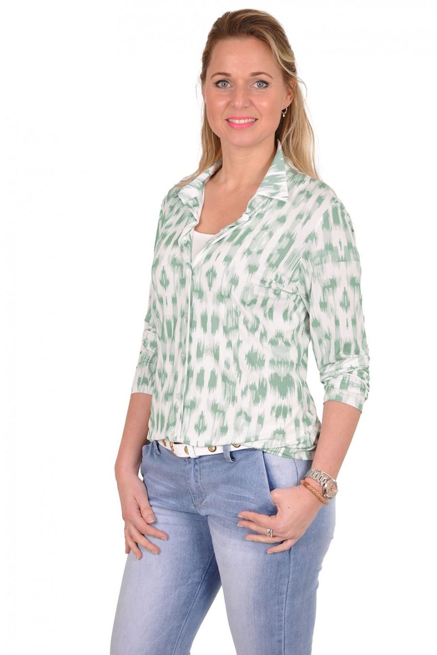 Stretch blouse met groene print Savinni Savinni