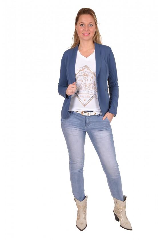 Travelstof blazer van Vera Jo jeansblauw
