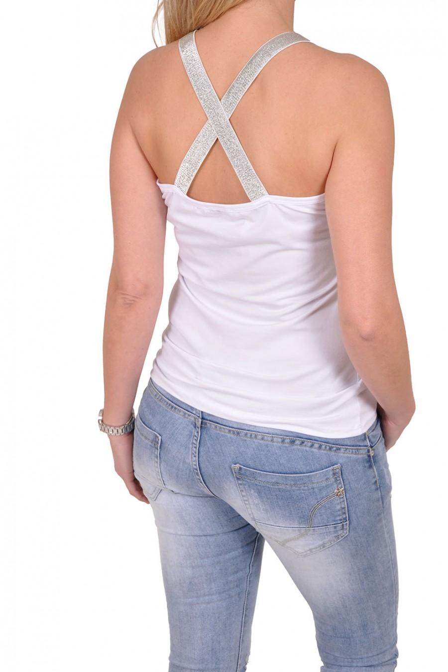 Gekruiste X top wit-zilver Eva Fashion