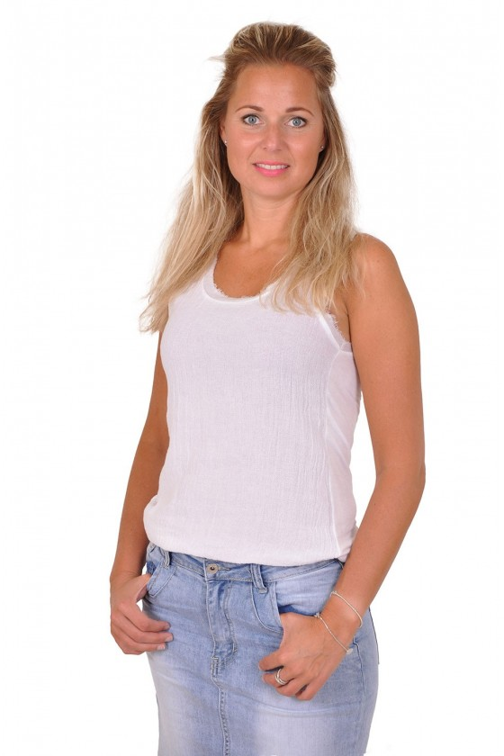 Basic top met linnen Gigi wit