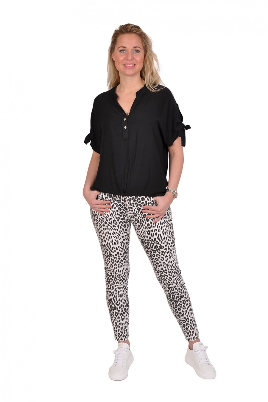 Leopard push up zwart-wit stretch jeans New Collection