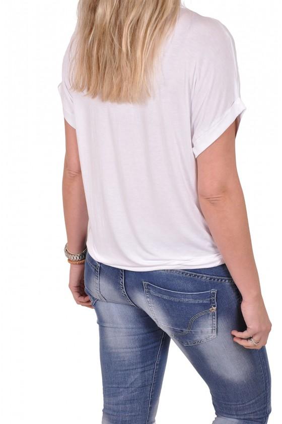 Silk touch v-hals top Gemma Ricceri wit