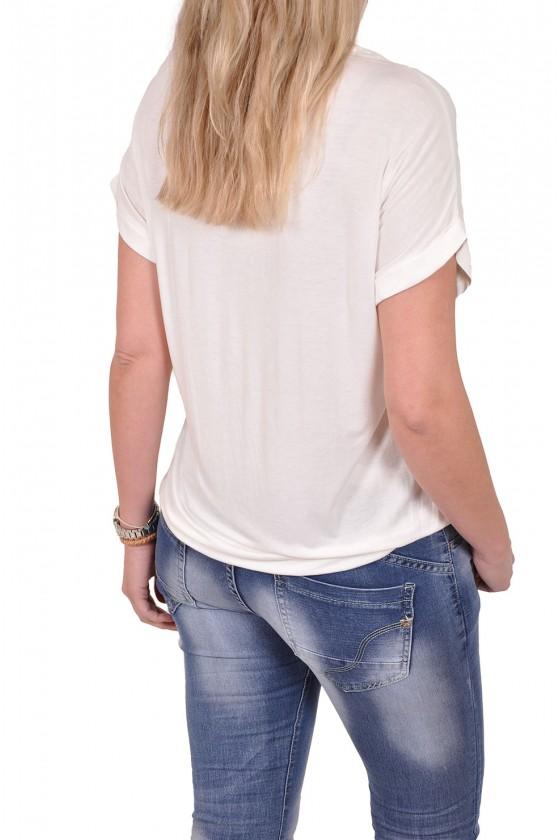 Silk touch v-hals top Gemma Ricceri off white