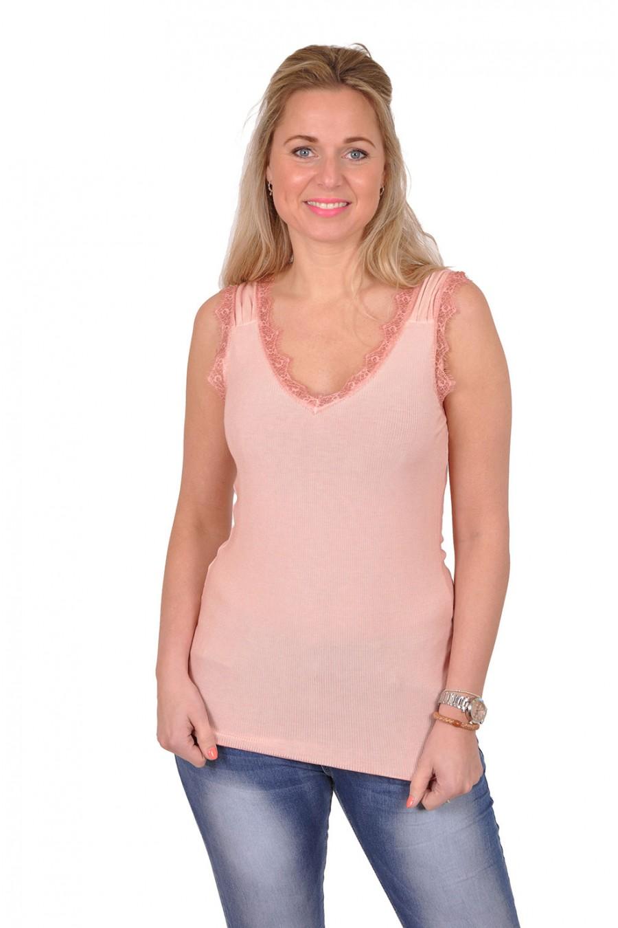 Ribbeltop met v-hals en kant unica roze New Collection