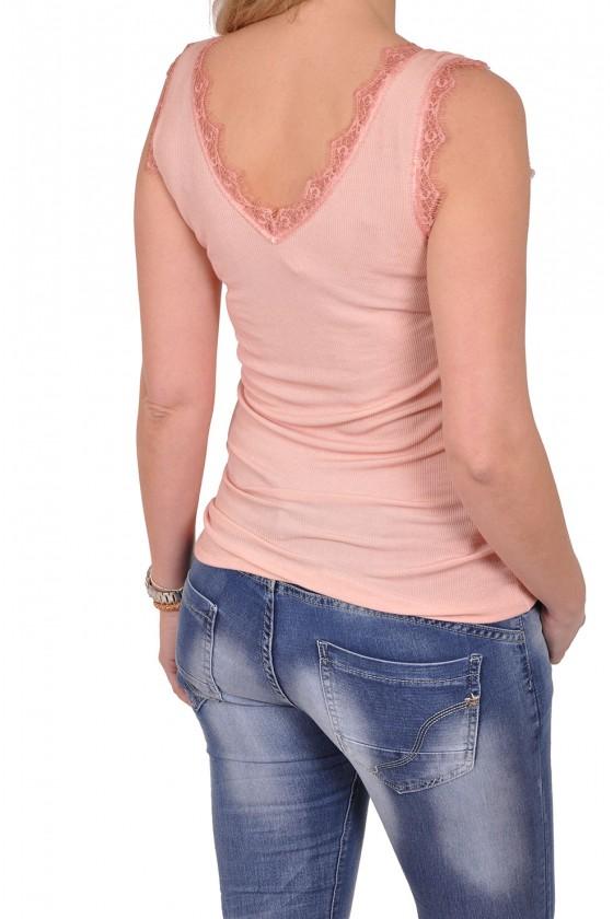 Ribbeltop met v-hals en kant unica roze