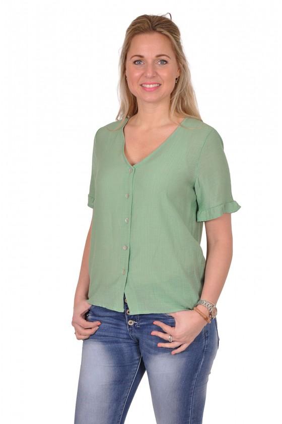 Vera Jo blouse met v-hals Yentl groen
