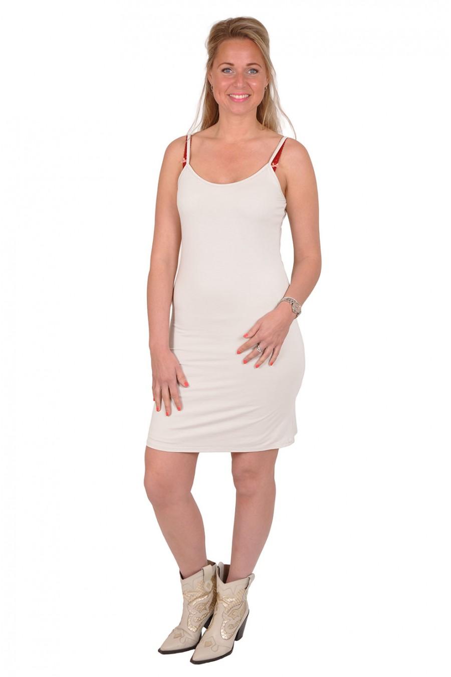 Basic onderjurkje smalle bandjes off white Gemma Ricceri