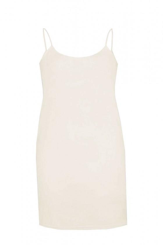 Basic onderjurkje smalle bandjes off white kort Italia Moda