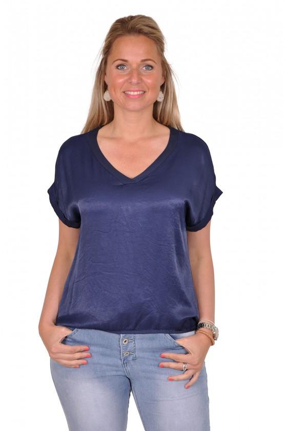 Silk touch v-hals top Gemma Ricceri donkerblauw Gemma Ricceri