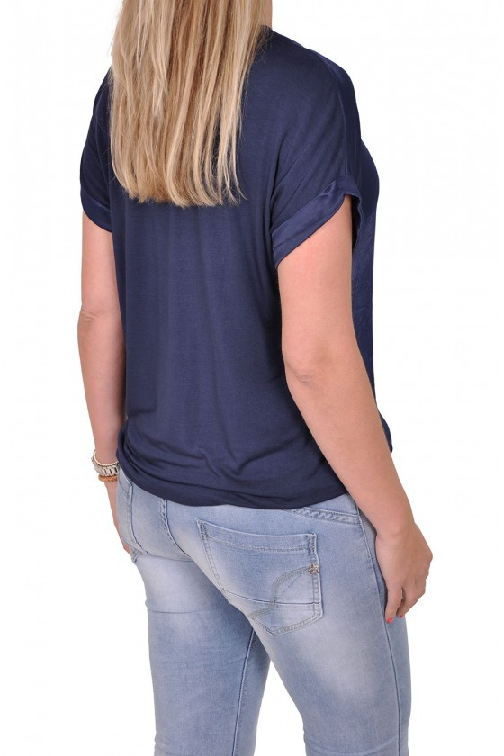 Silk touch v-hals top Gemma Ricceri donkerblauw