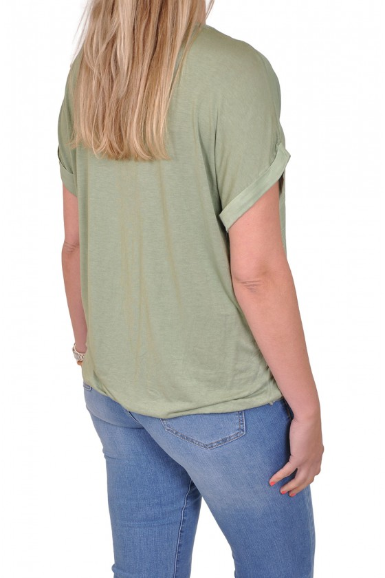 Silk touch v-hals top Gemma Ricceri army