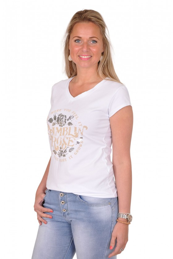 T-shirt Rose wit-beige