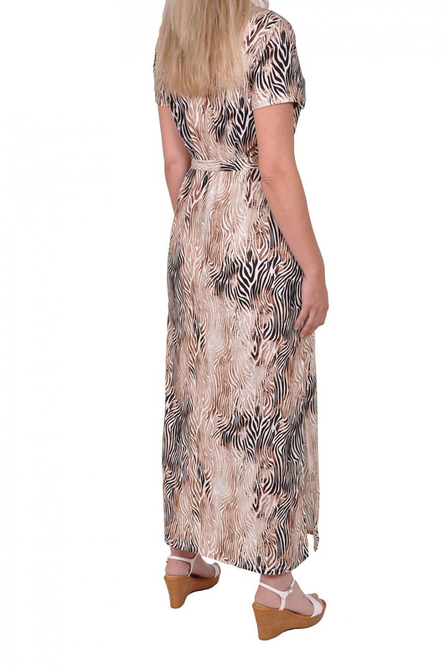 Lange jurk met v-hals en zebraprint van Savinni Savinni