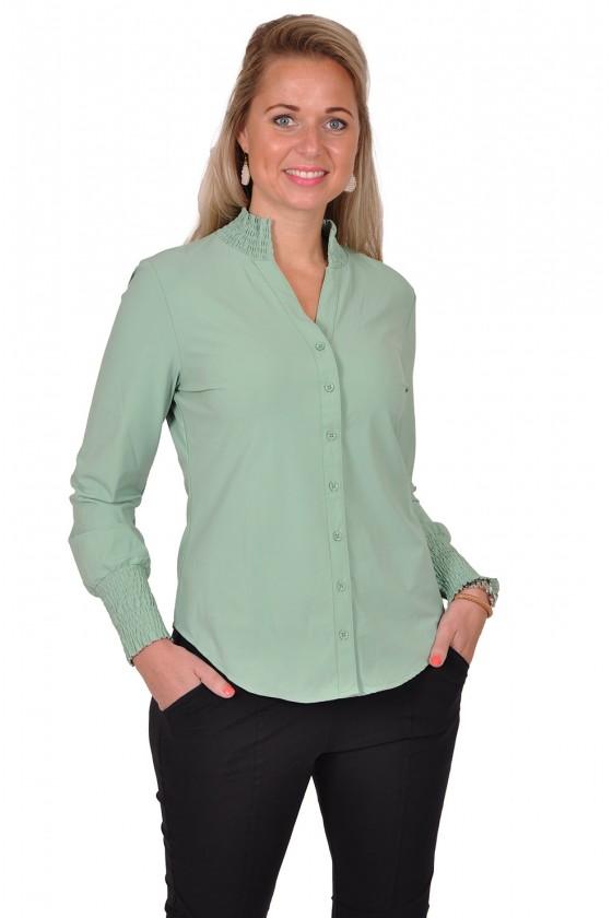 Travelstof smock blouse Bibi van Daelin avocado