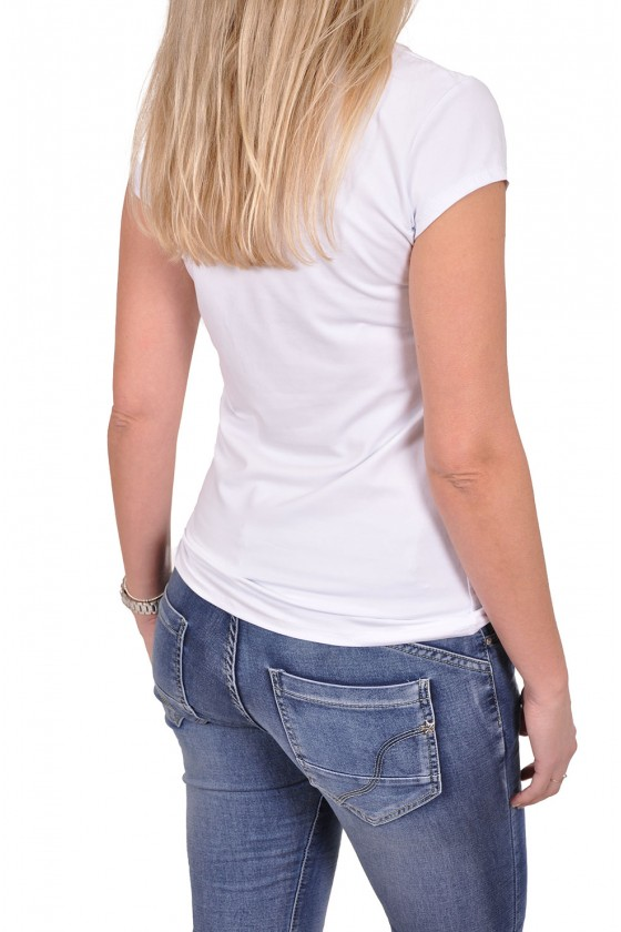 T-shirt palmboom wit-zilver-navy