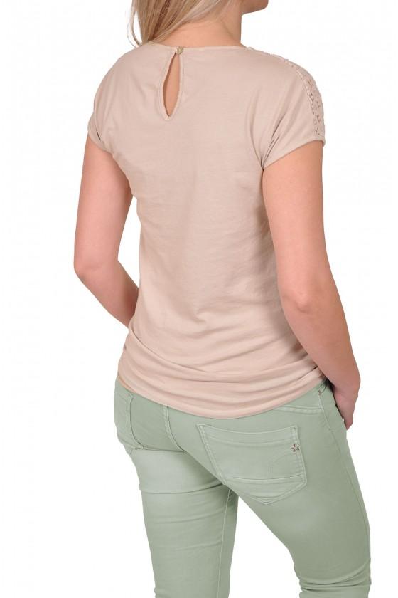 Stretch kanten top Gemma beige