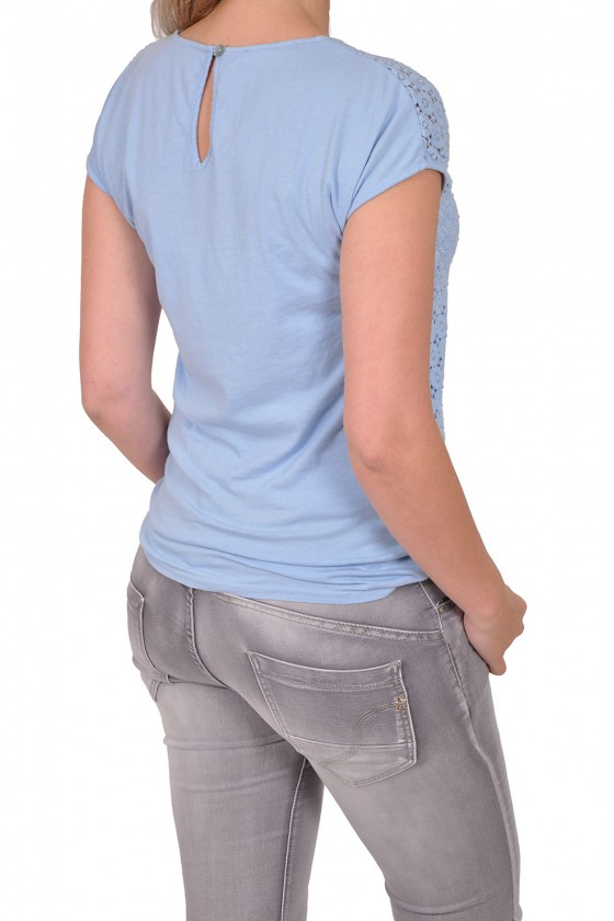 Stretch kanten top Gemma blauw