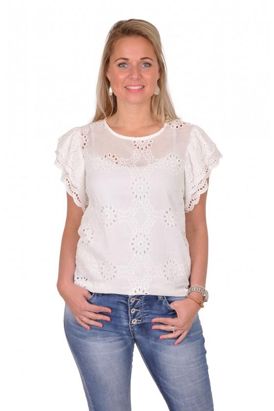 Broderie blouse korte mouwen