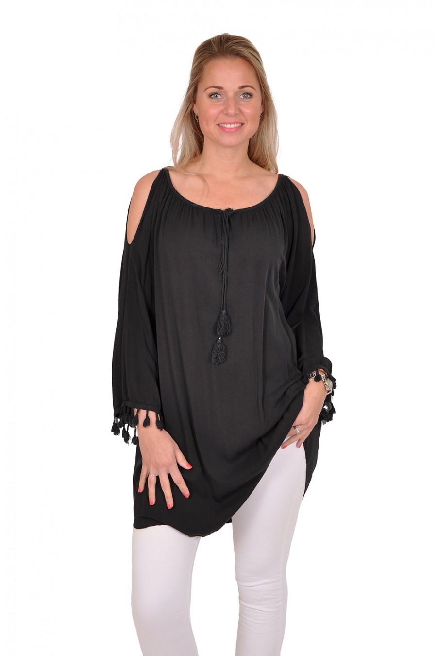 Kwast tuniek-jurk met open schouders zwart Italia Moda