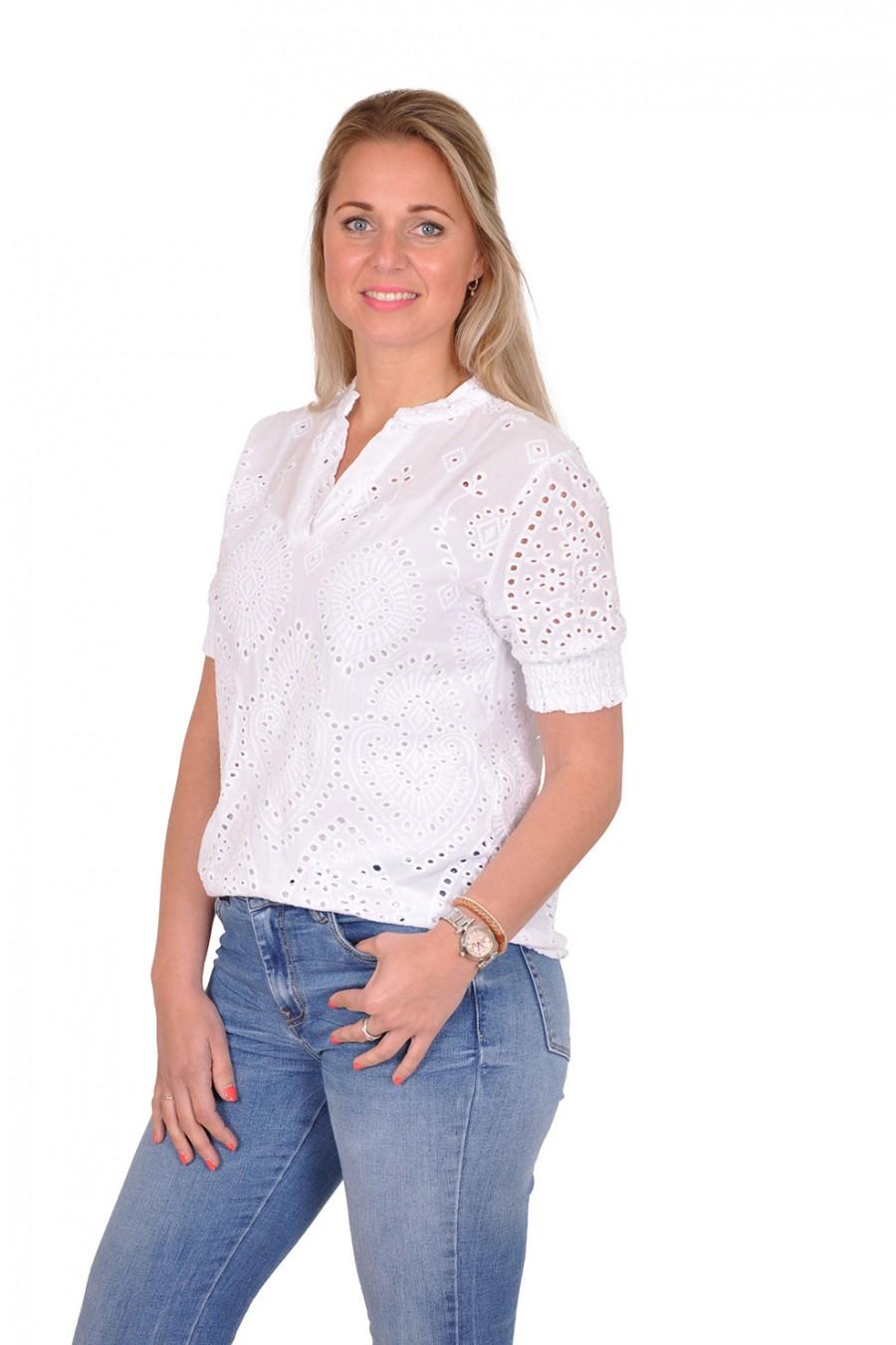 Broderie blouse met V-hals en korte mouwen wit Savinni