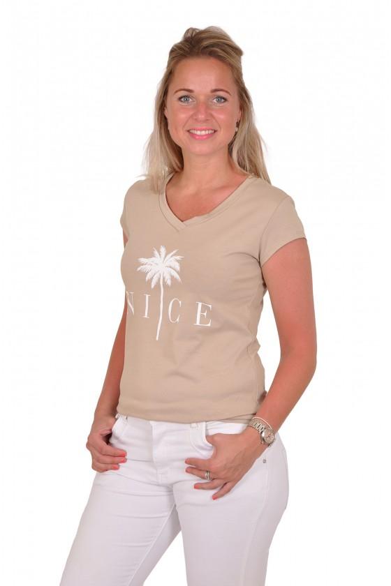 T-shirt palmboom nice beige-wit Savinni