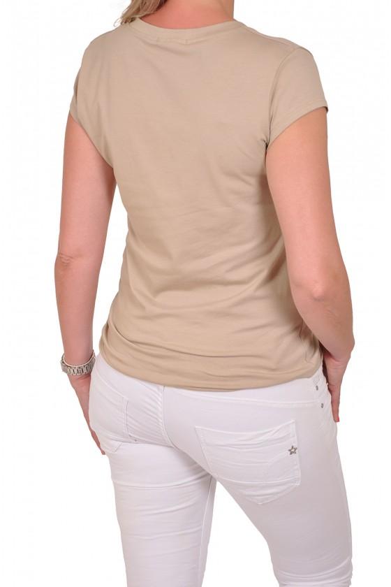 T-shirt palmboom nice beige-wit