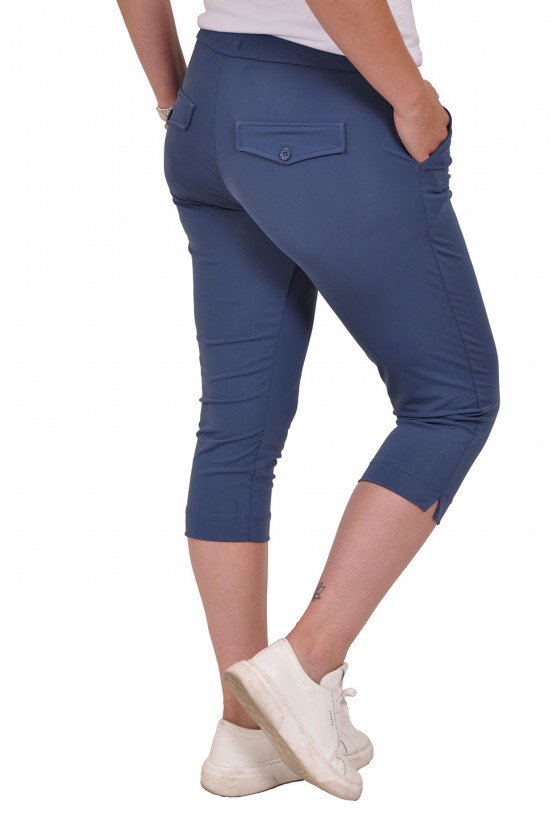 Vera Jo travelstof capri met splitjes jeansblauw