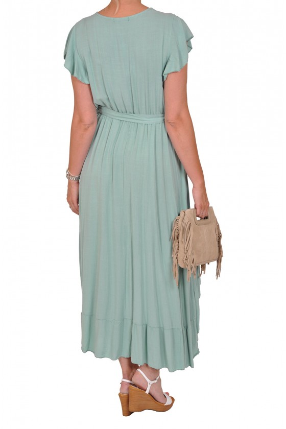 Boho stijl jurk van Savinni zeegroen