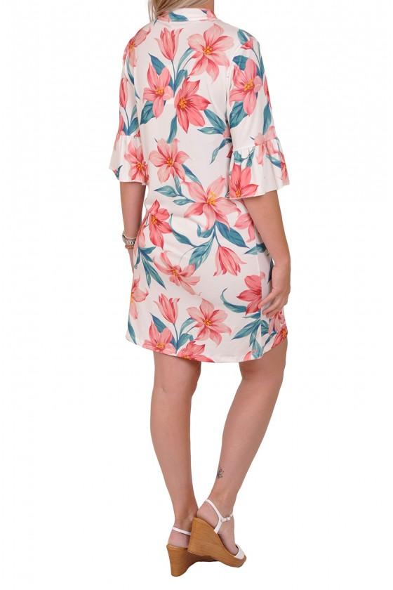 Gemma Ricceri V-hals jurk lelie wit