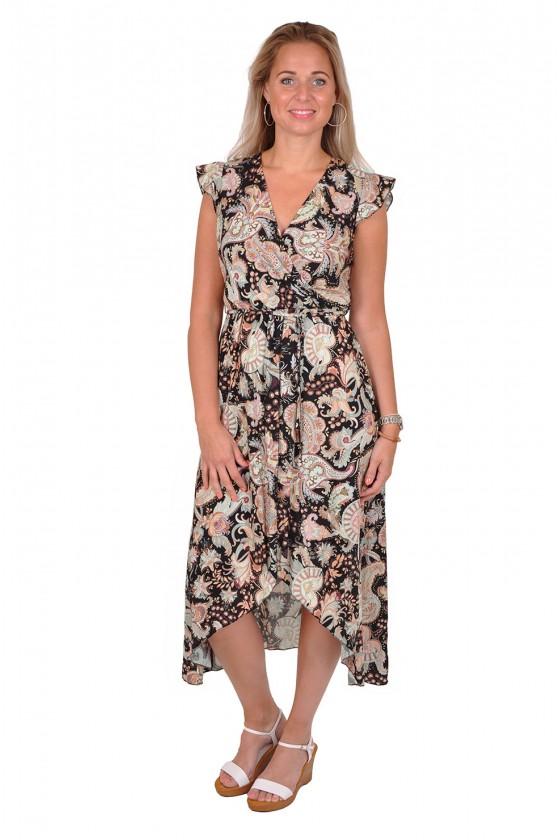 Paisleyprint jurk met overslag zwart Gemma Ricceri Gemma Ricceri