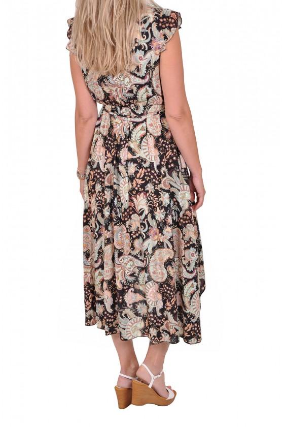 Paisleyprint jurk met overslag zwart Gemma Ricceri